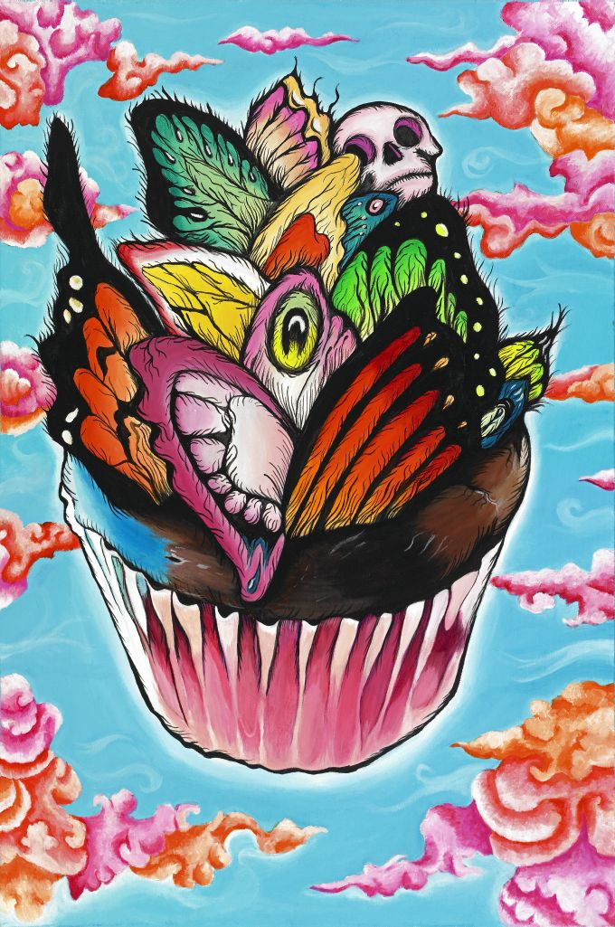 Butterfly Cupcake24 in. x 36 in. Acrylic on Canvas