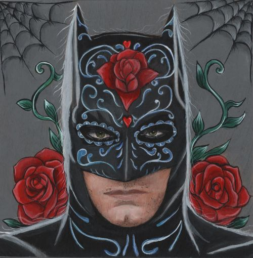 Day Of The Dead Batman8 in. x 8 in. Acrylic on Wood