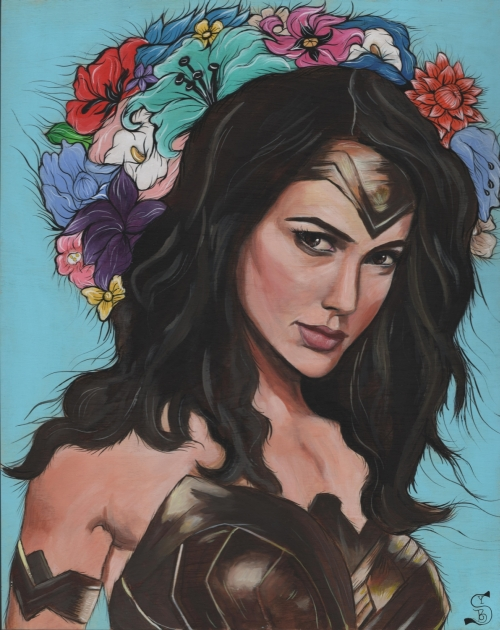 Diana, The Amazon Princess17.5 in. x 21.5 in. Framed Acrylic on Wood